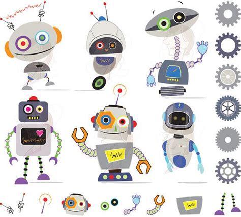 cute robots clipart gray robots perfect   birthday