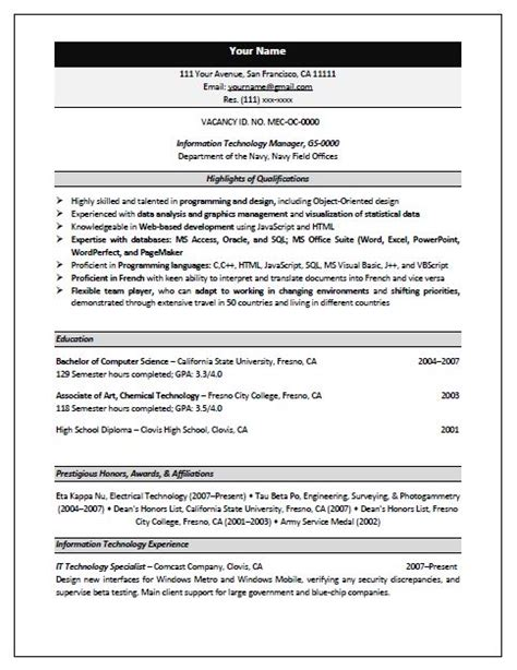 Federal Resumes Templates by Federal Resume Template Best Resume Format