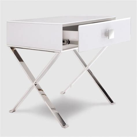 Chrome Bedroom Table Ls by Zurich White Glass Chrome Bedside Table Allissias