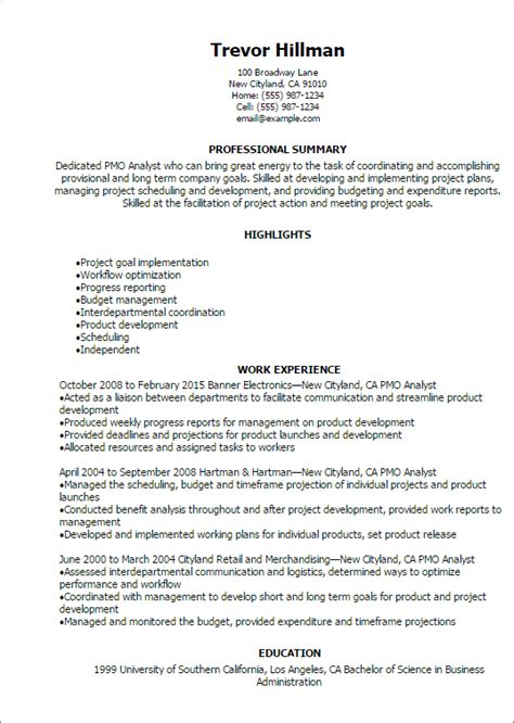 Pmo Analyst Resume Format by Professional Pmo Analyst Resume Templates To Showcase Your