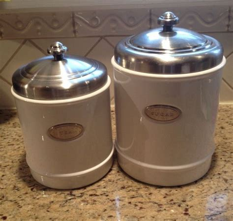 Ebay Kitchen Canisters by Williams Sonoma White Ceramic Canister Set Purchased 2