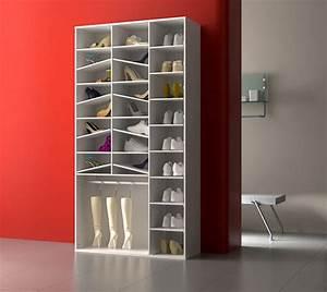 Armoire à Chaussures : armoire chaussure yvonne blanc blanc brillant ~ Teatrodelosmanantiales.com Idées de Décoration