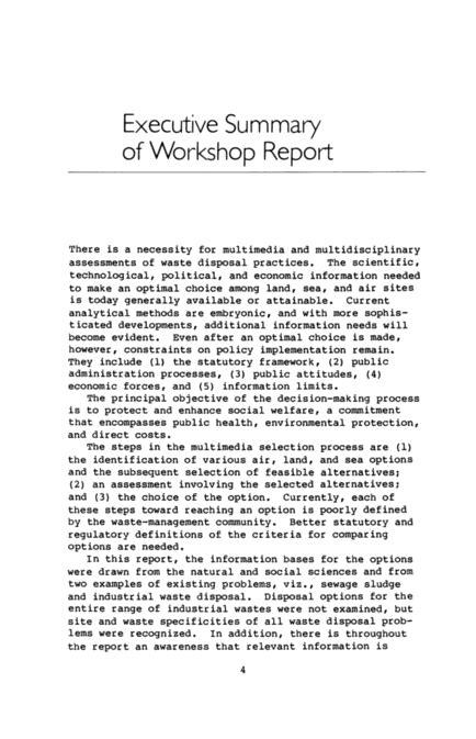 executive summary  workshop report disposal