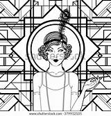 Coloring Retro Flapper Adults Shutterstock Vector Twenties Preview Template Party sketch template
