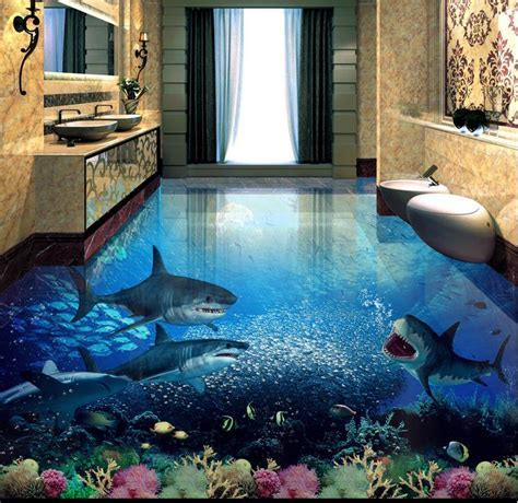 customized 3d floor painting shark 3d wallpaper living