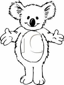 Royalty Free Clipart Image: Black and White Cuddly Koala