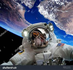 Astronaut Outer Space Against Backdrop Planet Stock Photo ...