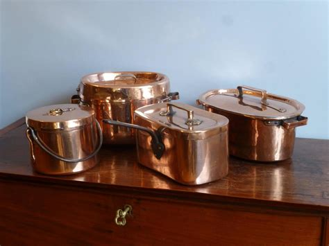 magnificent set of re tinned copper pans copper pots at 1stdibs
