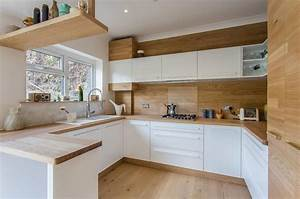 White, Kitchen, With, Wood, Accents