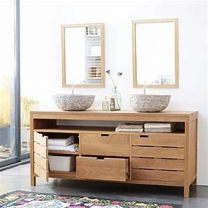meuble sous vasque en chne massif pour salle de bain With meuble chene salle de bain