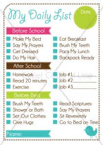 Editable Kids Chore List and Chart Daily