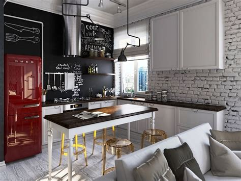 Loft Kitchen Ideas - interior decorating tips colour your kitchen with smeg