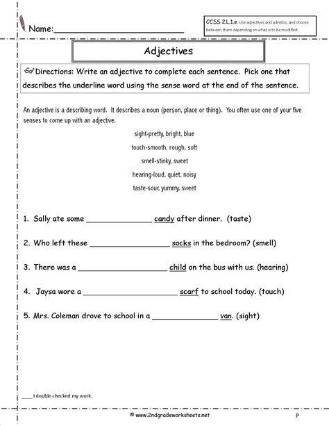 15 best images of adjective worksheets for grade 5