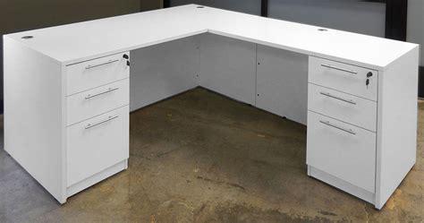 l desk with drawers white u shaped workstation w hutch