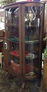 antique solid wood curved glass curio cabinet beautiful
