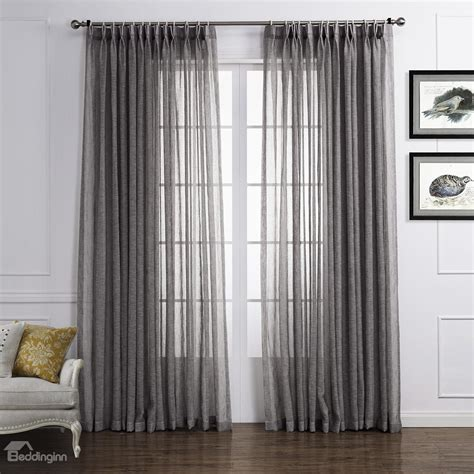 Light Gray Popular Polyester And Linen Custom Sheer
