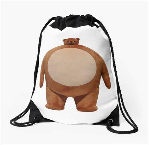 Small Head Big Body Bear Drawstring Bag By Seanworrall