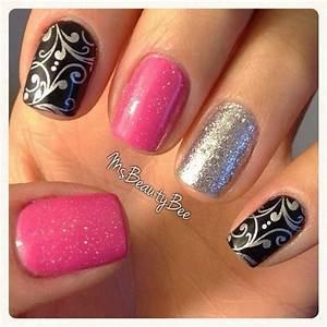 Nail Art Pink Black Silver - Nail Art Ideas