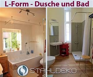 Duschvorhangstange Für Badewanne : eckige duschvorhangstange l form barrierefrei ebay ~ Watch28wear.com Haus und Dekorationen