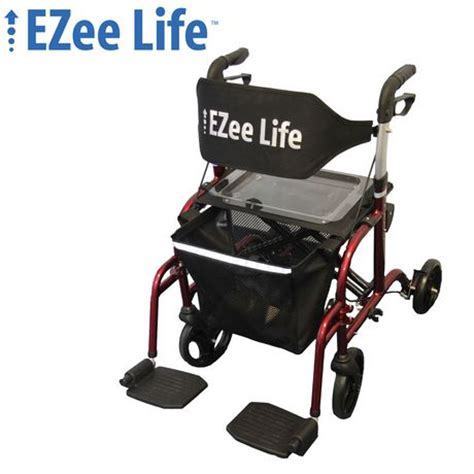 rollator walker transport chair combo ezee 18 8 quot seat width folding aluminum combination