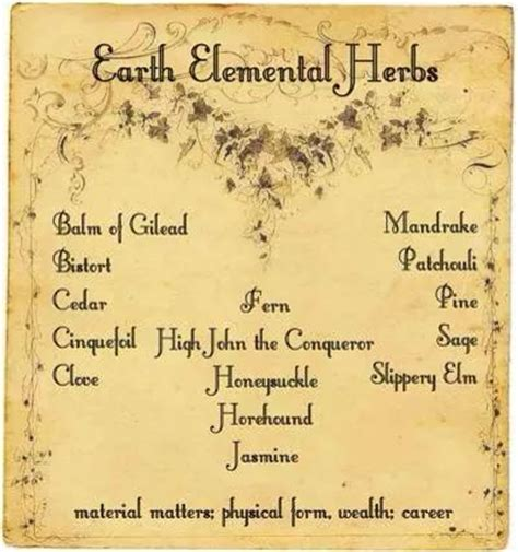 earth elemental herbs witches   craft