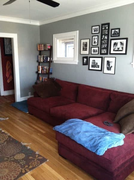 Which Rug to Go with Very Burgundy Couch? | Burgundy