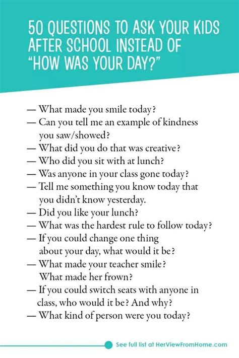 School Questions by 50 Questions To Ask Your After School Positive