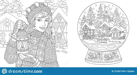 coloring pages with winter girl and magic snow ball stock