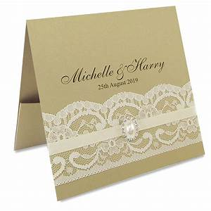 vintage lace flat front pocketfold pure invitation With lace pocket wedding invitations uk