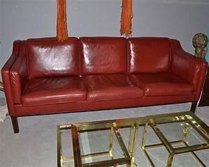 canape design danois borge mogensen en cuir rouge paul With canapé danois