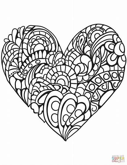 Zentangle Coloring Pages Heart Printable Getcolorings Colo