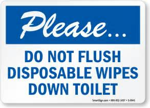 Please Do Not Flush Disposable Wipes Down Toilet Sign, SKU