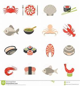Seafood Icons Set Flat Stock Vector - Image: 46201700