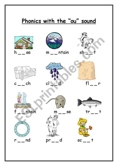 phonics with the quot ou quot sound esl worksheet by