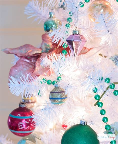shiny bright christmas ideas preppy pink green tree with vintage shiny brite ornaments hometalk