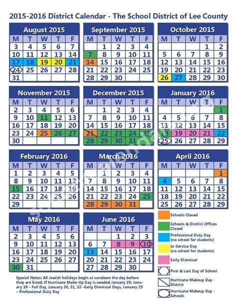 lee county school district calendars fort myers fl