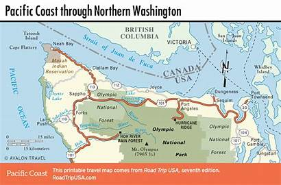 Washington Pacific Coast Map Usa Road Coastal