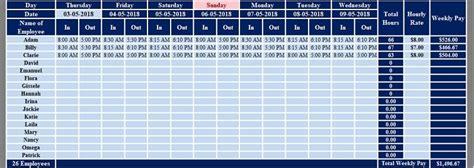 multiple employees weekly timesheet excel