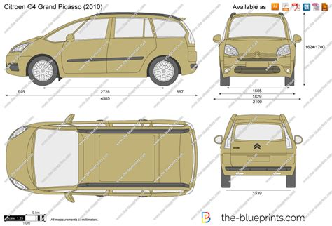 dimension grand c4 picasso the blueprints vector drawing citroen c4 grand picasso