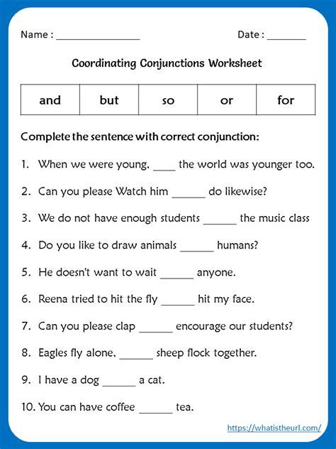 conjuction worksheet   grade  home teacher