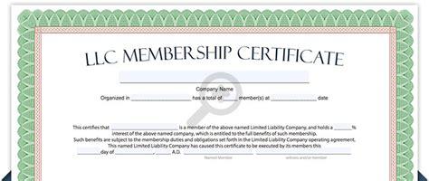 llc membership certificate template llc membership certificate free limited liability company membership certificate template