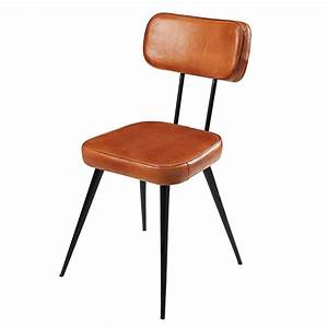 Chaise Vintage Cuir : chaise en cuir de ch vre et m tal noir clapper maisons du monde ~ Teatrodelosmanantiales.com Idées de Décoration