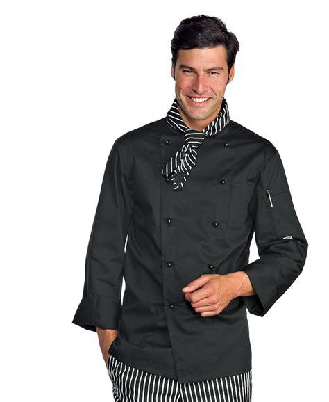veste cuisine homme personnalisé veste homme chef cuisinier noir polycoton