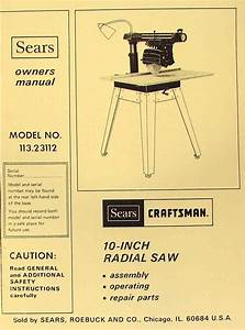 Craftsman 113 23112 Radial Arm Saw Operator Instructions