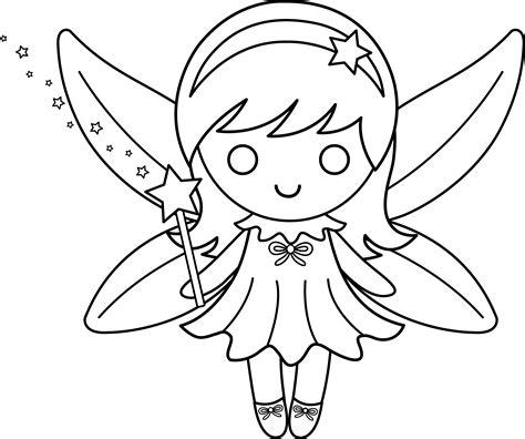 cute colorable fairy design  clip art