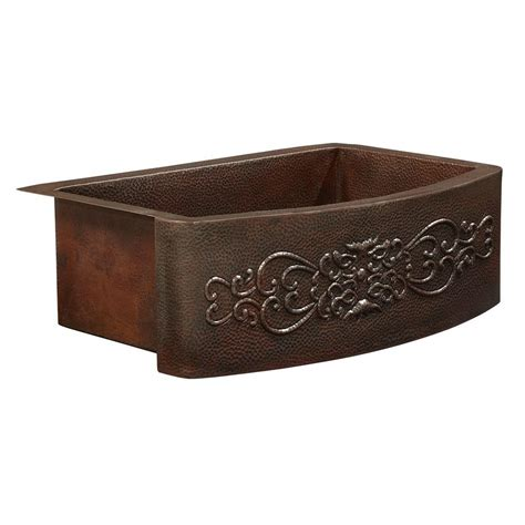 single bowl apron front sink sinkology donatello farmhouse apron front copper sink 25