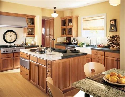 yellow and brown kitchen ideas flooring oak w yellow walls and medium
