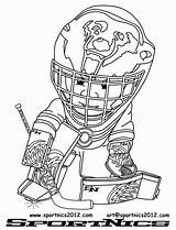 Hockey Coloring Goalie Mask Coloriage Imprimer Template sketch template