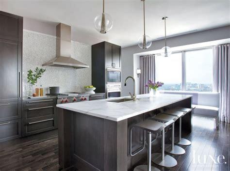 modern neutral kitchen  mosaic tile backsplash luxe