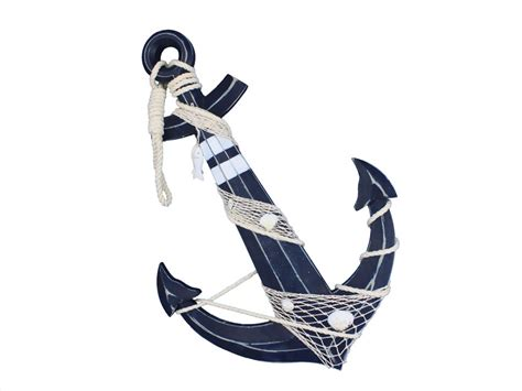 Decorative Anchors by Buy Wooden Rustic Blue Decorative Anchor W Hook Rope And